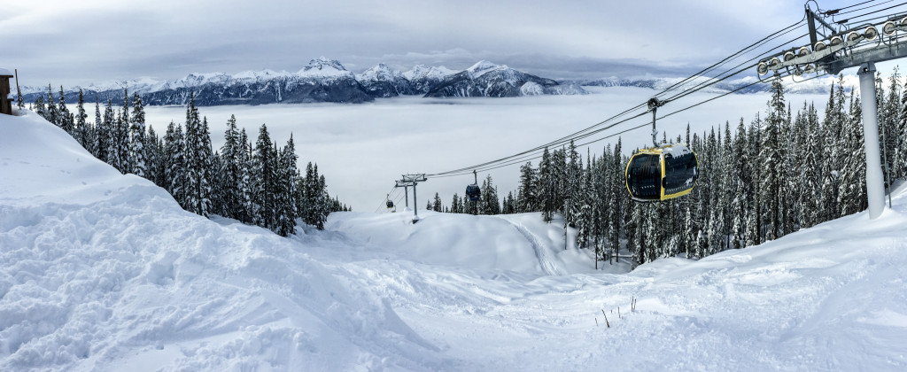 Above the clouds, at the top of the gondola at Revelstoke